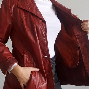 1970's Oxblood Leather Jacket w Fuzzy Zip-In Vest